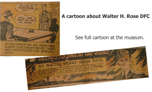 Cartoon about Walter H. Rose DFC